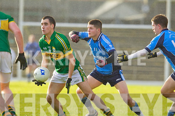 Jack Sherwood Kerry in action against Ian Corbett the IT Tralee in the preliminary round of the McGrath Cup at Fitzgerald Stadium on Saturday.