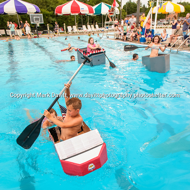 Indianola Park and Recreations hosted cardboard boat races at the Veteran's Memorial Aquatic Center July 22. Tucker Nelson got a good lead to win the races.