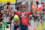 Dylan Teuns (BEL) Bahrain-Merida wins the sprint for the finish ahead of Guillaume Martin (FRA) Wanty-Gobert at the end of Stage 2 of the Criterium du Dauphine 2019, running 180km from Mauriac to Craponne-sur-Arzon, France. 9th June 2019<br /> Picture: Colin Flockton | Cyclefile<br /> All photos usage must carry mandatory copyright credit (© Cyclefile | Colin Flockton)