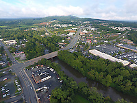 Cars traffic over the Rivanna River thru Free Bridge near Pantops in Charlottesville, Virginia. Photo/Andrew Shurtleff