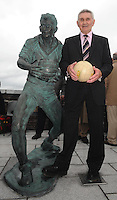23-06-12: GAA legend Mick OÕDwyer with the  bronze life-sized statue of himself that was unveiled in his home village of Waterville, County Kerry, on Saturday. The statue was unveiled by  MinisterÊfor Arts, Heritage and the Gaeltacht  Jimmy Deenihan, T.D, who played on the great Kerry golden years team that was managed by O'Dwyer in the 70s and 80s. Picture: Eamonn Keogh (MacMonagle, Killarney)