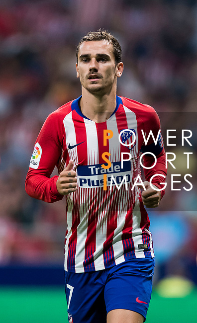 Antoine Griezmann of Atletico de Madrid reacts during their International Champions Cup Europe 2018 match between Atletico de Madrid and FC Internazionale at Wanda Metropolitano on 11 August 2018, in Madrid, Spain. Photo by Diego Souto / Power Sport Images