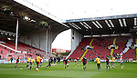 Players warm up with KIO t-shirts during the English League One match at the Bramall Lane Stadium, Sheffield. Picture date: November 19th, 2016. Pic Simon Bellis/Sportimage