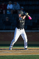 Gavin Sheets (24) of the Wake Forest Demon Deacons at bat against the Florida State Seminoles at David F. Couch Ballpark on April 16, 2016 in Winston-Salem, North Carolina.  The Seminoles defeated the Demon Deacons 13-8.  (Brian Westerholt/Four Seam Images)