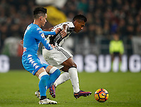 Calcio, Serie A: Juventus Stadium. Torino, Juventus Stadium, 29 ottobre 2016.<br /> Juventus&rsquo; Alex Sandro, right, is challenged by Napoli&rsquo;s Jose' Maria Callejon during the Italian Serie A football match between Juventus and Napoli at Turin's Juventus Stadium, 29 October 2016. Juventus won 2-1.<br /> UPDATE IMAGES PRESS/Isabella Bonotto