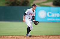 Kannapolis Intimidators shortstop Grant Massey (28) on defense against the West Virginia Power at Kannapolis Intimidators Stadium on June 18, 2017 in Kannapolis, North Carolina.  The Intimidators defeated the Power 5-3 to win the South Atlantic League Northern Division first half title.  It is the first trip to the playoffs for the Intimidators since 2009.  (Brian Westerholt/Four Seam Images)