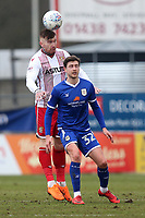 Jack King of Stevenage and Shaun Miller of Crewe Alexandra during Stevenage vs Crewe Alexandra, Sky Bet EFL League 2 Football at the Lamex Stadium on 10th March 2018