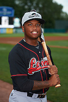 Great Lakes Loons designated hitter Willie Calhoun (3) poses for a photo before a game against the Kane County Cougars on August 13, 2015 at Fifth Third Bank Ballpark in Geneva, Illinois.  Great Lakes defeated Kane County 7-3.  (Mike Janes/Four Seam Images)