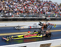 Jul 31, 2016; Sonoma, CA, USA; NHRA top fuel driver J.R. Todd (near) races alongside Antron Brown during the Sonoma Nationals at Sonoma Raceway. Mandatory Credit: Mark J. Rebilas-USA TODAY Sports