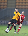 Conal Platt of Cambridge United holds off Lee Vaughan of Kidderminster during the Blue Square Bet Premier match between Cambridge United and Kidderminster Harriers at the Abbey Stadium, Cambridge on 18th February, 2011 .© Kevin Coleman 2011.