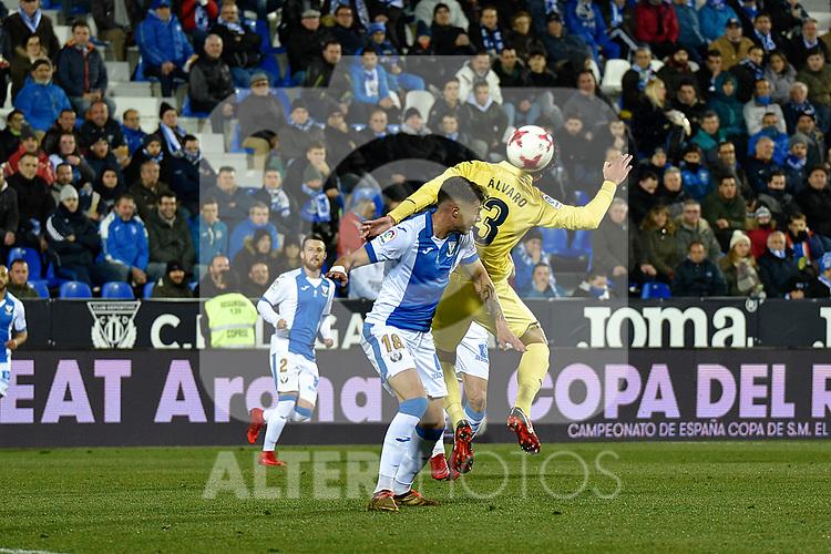 Leganes Erick Cabaco vs Villarreal Alvaro Gonzalez during Copa del Rey match. 20180104.