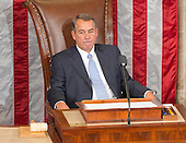 Outgoing Speaker of the United States House of Representatives John Boehner (Republican of Ohio) appears lost in thought as he sits in the Speaker's chair for the last time in the US House Chamber in the US Capitol in Washington, DC on Thursday, October 29, 2015.<br /> Credit: Ron Sachs / CNP