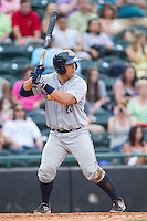 Kale Sumner (23) of the Charleston RiverDogs at bat against the Hickory Crawdads at L.P. Frans Stadium on May 25, 2014 in Hickory, North Carolina.  The RiverDogs defeated the Crawdads 17-10.  (Brian Westerholt/Four Seam Images)