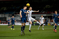 3rd March 2020; Dens Park, Dundee, Scotland; Scottish Championship Football, Dundee FC versus Alloa Athletic; Christophe Berra of Dundee competes in the air with Scott Taggart of Alloa Athletic