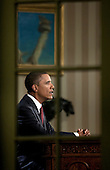 "United States President Barack Obama speaks during a televised national address in the Oval Office at the White House in Washington, D.C., U.S., on Tuesday, August 31, 2010. Obama said that with the end of the American combat mission in Iraq, the U.S. must focus on the ""urgent task"" of bolstering the economy because the nation's strength is rooted in prosperity at home. .Credit: Brendan Smialowski - Pool via CNP"