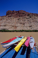 Kayaks loaded on top of jet boat river shuttle at confluence of Green and Colorado Rivers, Canyonlands National Park, Utah