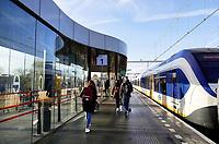 Nederland - Amsterdam -  November 2019. Trein bij station Amsterdam Science Park.   Foto Berlinda van Dam / Hollandse Hoogte