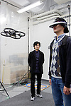 "Tokyo, January 17 2013 - Portrait of Japanese researcher and designer Jun Rekimoto at his lab in Tokyo University, during a demonstration of ""Flying Eyes"", an autonomous helicopter."