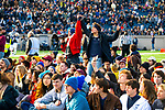 """November 23, 2019: Yale defeated Harvard in double overtime 50-43, in a contest marked by a """"fossil fuel"""" protest. It was at halftime of the 136th Ivy League meeting as the """"sit-in"""" took place on the 50-yard line at Reese Stadium in new Haven, Connecticut. Dan Heary/Eclipse Sportswire/CSM"""