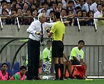 September 1, 2016, Saitama, Japan - Japan's head coach Vahid halilhodzic (L) faces against referee Abdul Rahman Al-Jassim during the Asian qualifier for FIFA World Cup Russia against UAE in Saitama, suburban Tokyo on Thursday, September 1, 2016.    (Photo by Yoshio Tsunoda/AFLO) LWX -ytd-