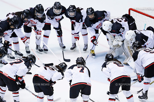 Japan Women's team group (JPN), <br /> FEBRUARY 20, 2017 - Ice Hockey : <br /> Women's tournament game <br /> between Japan - Korea <br /> during the 2017 Sapporo Asian Winter Games <br /> at Sapporo Tsukisamu Gymnasium in Hokkaido, Japan. <br /> (Photo by Yohei Osada/AFLO SPORT)