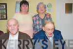 Ballinskelligs Day Care Centre and Meals on Wheels is a huge boost to the elderly population of the local community who every Thursday get to meet up with friends and enjoy a meal  .Back L-R is Joan King and Mary Anne Dennehy .Front L-R Michael Curran and Dan Murphy