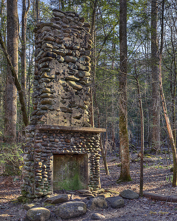 Old stone chimney alongside the Sugarland Valley Nature Trail. Three exposure HDR.