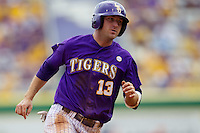 LSU Tigers outfielder Alex Edward #13 rounds second base during the NCAA Super Regional baseball game against Stony Brook on June 9, 2012 at Alex Box Stadium in Baton Rouge, Louisiana. Stony Brook defeated LSU 3-1. (Andrew Woolley/Four Seam Images)