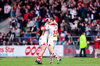 Picture by Alex Whitehead/SWpix.com - 30/03/2018 - Rugby League - Betfred Super League - St Helens v Wigan Warriors - Totally Wicked Stadium, St Helens, England - St Helens' Danny Richardson (L) and Kyle Amor (R) celebrate the win.