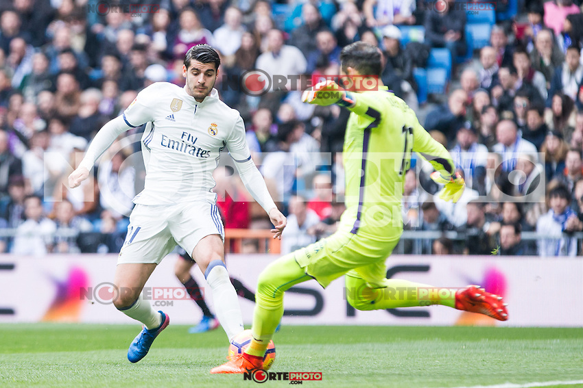 Alvaro Morata of Real Madrid competes for the ball with Diego Lopez during the match of La Liga between Real Madrid and RCE Espanyol at Santiago Bernabeu  Stadium  in Madrid , Spain. February 18, 2016. (ALTERPHOTOS/Rodrigo Jimenez) /Nortephoto.com