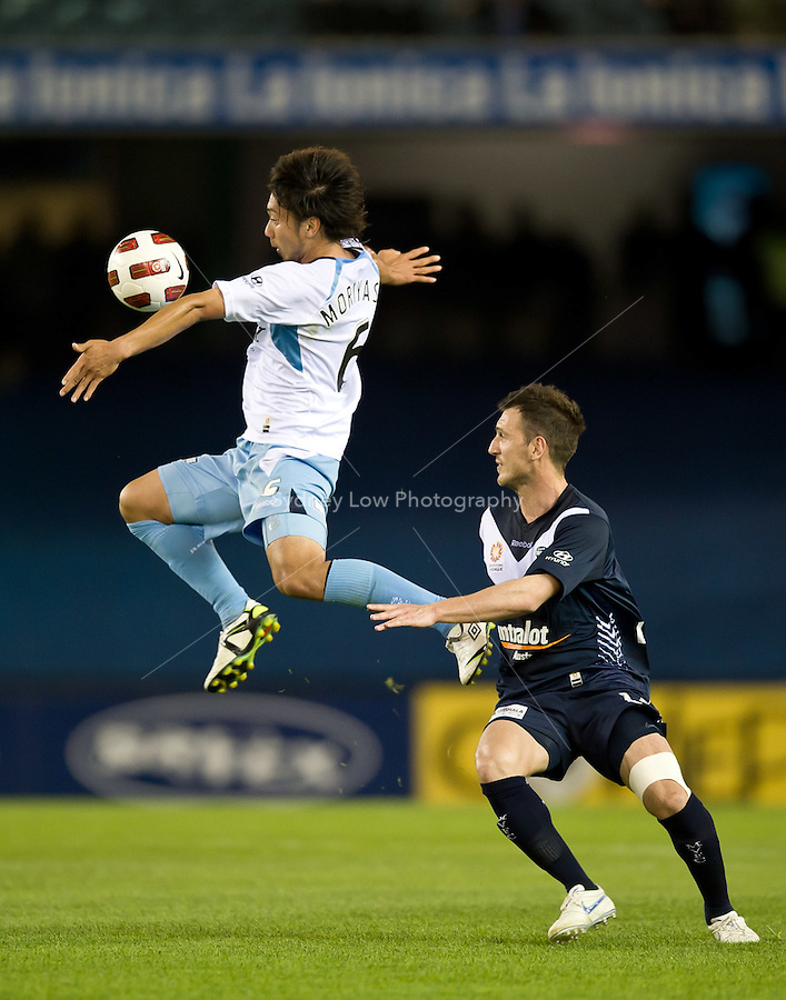 MELBOURNE, AUSTRALIA - OCTOBER 16, 2010: Hirofumi Moriyasu of Sydney FC jumps for the ball in Round 10 of the 2010 A-League between the Melbourne Victory and Sydney FC at Etihad Stadium on October 16, 2010 in Melbourne, Australia. (Photo by Sydney Low / Asterisk Images)