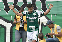 PALMIRA - COLOMBIA, 01-09-2019: Feiver Mercado del Cali celebra después de anotar el primer gol de su equipo durante partido entre Deportivo Cali y Deportivo Pasto por la fecha 9 de la Liga Águila II 2019 jugado en el estadio Deportivo Cali de la ciudad de Palmira. / Feiver Mercado of Cali celebrates after scoring the first goal of his team during match between Deportivo Cali and Deportivo Pasto for the date 9 as part Aguila League II 2019 played at Deportivo Cali stadium in Palmira city. Photo: VizzorImage / Gabriel Aponte / Staff