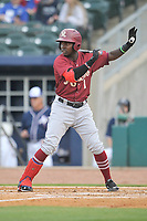 Frisco RoughRiders shortstop Michael De Leon (1) calls time out during a game against the Northwest Arkansas Naturals at Arvest Ballpark on May 23, 2017 in Springdale, Arkansas.  The RoughRiders defeated the Naturals 7-6 in the completion of the game suspended on May 23, 2017.  (Dennis Hubbard/Four Seam Images)