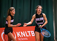 Wateringen, The Netherlands, December 15,  2019, De Rhijenhof , NOJK juniors doubles , Final girls 14 years, Isis van den Broek (NED) and Nina Kwakman (NED) (L)<br /> Photo: www.tennisimages.com/Henk Koster