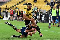 Hurricanes' Ngani Laumape in action during the Super Rugby - Hurricanes v Highlanders at Westpac Stadium, Wellington, New Zealand on Friday 8 March 2019. <br /> Photo by Masanori Udagawa. <br /> www.photowellington.photoshelter.com