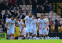 Port Vale's Antony Kay celebrates scoring the opening goal with team mates<br /> <br /> Photographer Andrew Vaughan/CameraSport<br /> <br /> The EFL Sky Bet League Two - Port Vale v Lincoln City - Saturday 14th April 2018 - Vale Park - Burslem<br /> <br /> World Copyright &copy; 2018 CameraSport. All rights reserved. 43 Linden Ave. Countesthorpe. Leicester. England. LE8 5PG - Tel: +44 (0) 116 277 4147 - admin@camerasport.com - www.camerasport.com