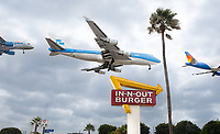 """There's always lines at """"In-N-Out"""" burger shops and as I was watching planes landing at LAX, I had to set up by the sign and get a shot of a plane over the sign. Many flew too low, but I got a few good shots, including one of the last KLM 747s, then stitched together three for this fun shot."""