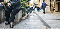 Pictured: A young boy begging on the street.<br /> Re: Street photography, Athens, Greece. Thursday 27 February 2020