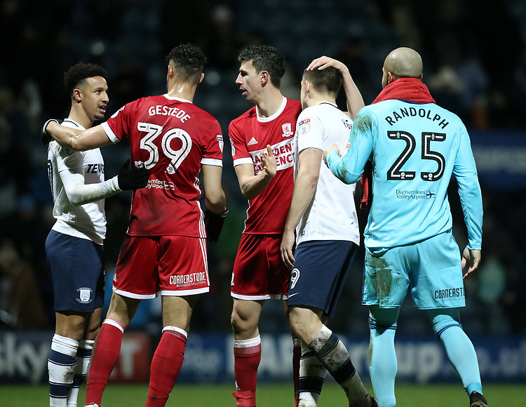 Preston North End's Callum Robinson (left) and Jordan Hugill are consoled by Middlesbrough's Rudy Gestede and Daniel Ayala at the final whistle<br /> <br /> Photographer Rich Linley/CameraSport<br /> <br /> The EFL Sky Bet Championship - Preston North End v Middlesbrough - Monday 1st January 2018 - Deepdale Stadium - Preston<br /> <br /> World Copyright &copy; 2018 CameraSport. All rights reserved. 43 Linden Ave. Countesthorpe. Leicester. England. LE8 5PG - Tel: +44 (0) 116 277 4147 - admin@camerasport.com - www.camerasport.com