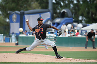 Reggie McClain (9) of the Modesto Nuts pitches against the Rancho Cucamonga Quakes at LoanMart Field on August 2, 2017 in Rancho Cucamonga, California. Modesto defeated Rancho Cucamonga, 10-5. (Larry Goren/Four Seam Images)