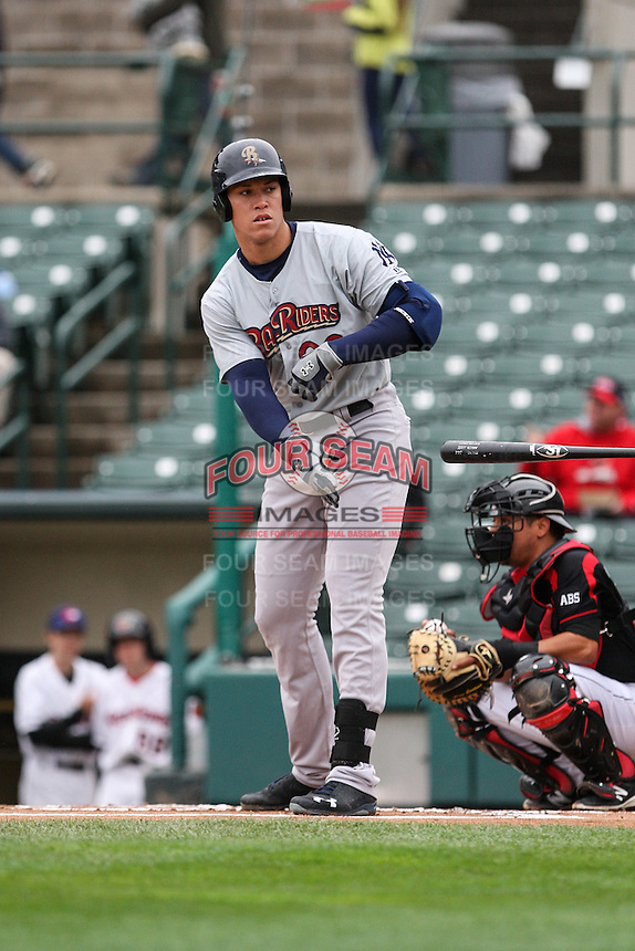 Scranton/Wilkes-Barre RailRiders right fielder Aaron Judge (99) draws a walk against the Rochester Red Wings on May 1, 2016 at Frontier Field in Rochester, New York. Rochester defeated Scranton 1-0.  (Christopher Cecere/Four Seam Images)