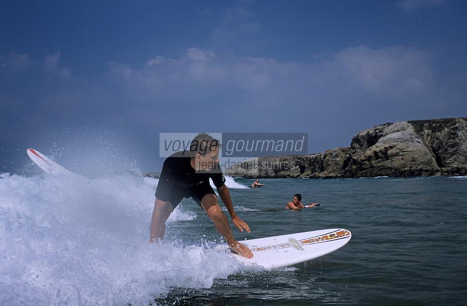 Europe/France/Bretagne/56/Morbihan/Quiberon: Surf sur la côte sauvage à Port Bara