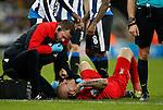Martin Skrtel of Liverpool lies down injured - English Premier League - Newcastle Utd vs Liverpool - St James' Park Stadium - Newcastle Upon Tyne - England - 6th December 2015 - Picture Simon Bellis/Sportimage