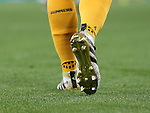 Arsenal's Mesut Ozil shows off his gold boots whilst missing a stud during the Champions League group A match at the Emirates Stadium, London. Picture date September 28th, 2016 Pic David Klein/Sportimage
