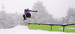 On Thanksgiving Day a snowboarding girl feasts in Kiilington's Freestyle Terrain.