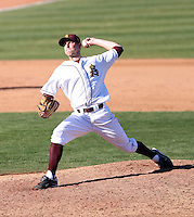 Josh Moody #32 of the Arizona State Sun Devils pitches against the Alumni team on February 12, 2011 at Packard Stadium, Arizona State University, in Tempe, Arizona..Photo by:  Bill Mitchell/Four Seam Images.