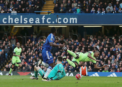 16.04.2016. Stamford Bridge, London, England. Barclays Premier League. Chelsea versus Manchester City. Chelsea Goalkeeper Thibaut Courtois brings down Manchester City Midfielder Fernandinho in the area and is shown the red card