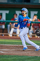 Ramon Rodriguez (3) of the Ogden Raptors follows through on a swing during a game against the Idaho Falls Chukars at Lindquist Field on August 29, 2018 in Ogden, Utah. Idaho Falls defeated Ogden 15-6. (Stephen Smith/Four Seam Images)
