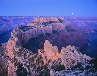 Moon over Wotans Throne from Cape Royal on North Rim of Grand Canyon, Grand Canyon National Park, Arizona, AGPix_0235.