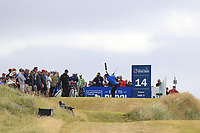 Rafael Cabrera-Bello (ESP) tees off the par3 14th tee during Thursday's Round 1 of the 2018 Dubai Duty Free Irish Open, held at Ballyliffin Golf Club, Ireland. 5th July 2018.<br /> Picture: Eoin Clarke | Golffile<br /> <br /> <br /> All photos usage must carry mandatory copyright credit (&copy; Golffile | Eoin Clarke)
